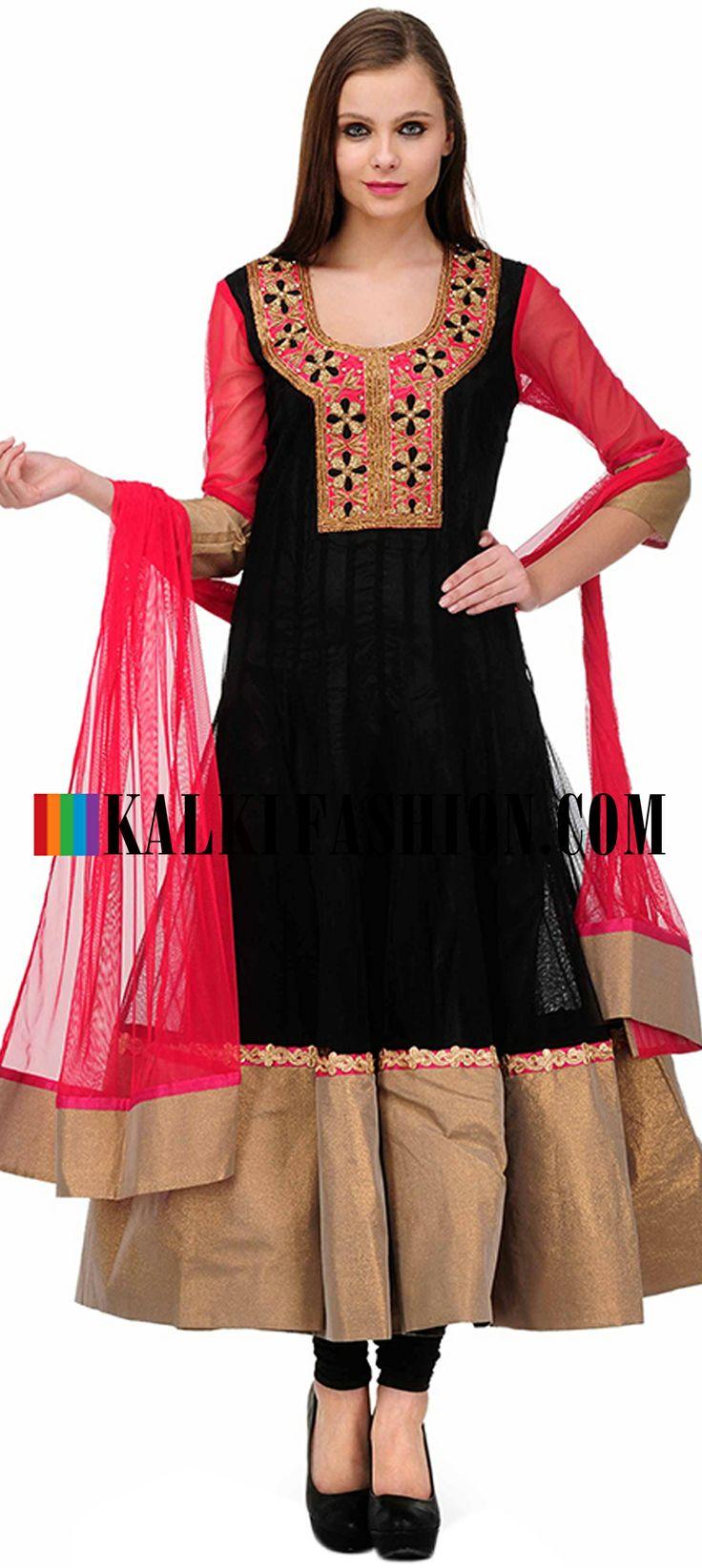 Buy Online from the link below. We ship worldwide (Free Shipping over US$100)  http://www.kalkifashion.com/black-embellished-anarkali-suit-set.html