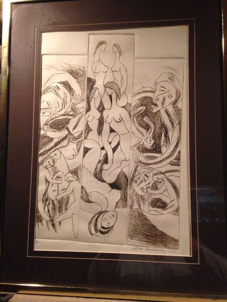 Itzhak Sankowsky Plexiglass Print War and Peace 1979 Main Line Center Art Label #Modernism