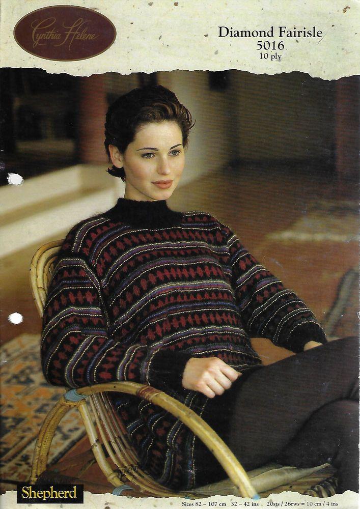 Women's Diamond Fairisle Sweater Shepherd #5016 knitting pattern 10ply aran yarn #Shepherd