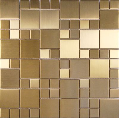 Mix Metal 01 Pastilhas de porcelana em estilo mutação de inox escovado, cor dourado, tamanho da placa 30 x 30 cm, tamanho da pastilha 2,3 x 2,3 cm e 4,8 x 4,8.  http://loja.pastilhart.com.br/p/mixmetal01/mix+metal+01