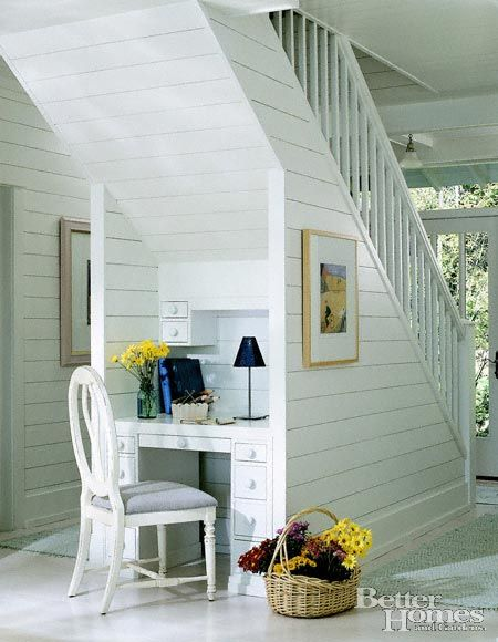 Under stairs Office! Love the use of space!