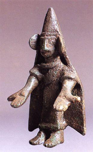 Small bronze offerant with hands outstretched -   Bronze votive offering at Castillar  de Santiesteban, 400-100 bce.