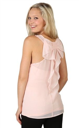 Deb Shops Chiffon Tank with Pearl Trim Arm Opening Trim and Bow Back $15.67