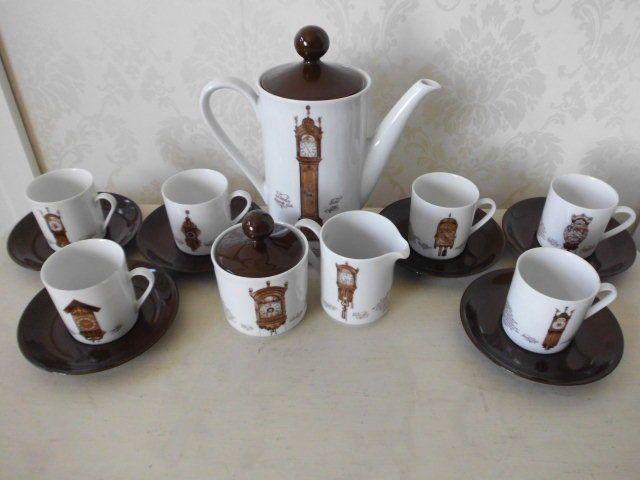VINTAGE CLOCK DESIGN COFFEE SET MITTERTEICH PORZELLAN BAVARIAN  £20