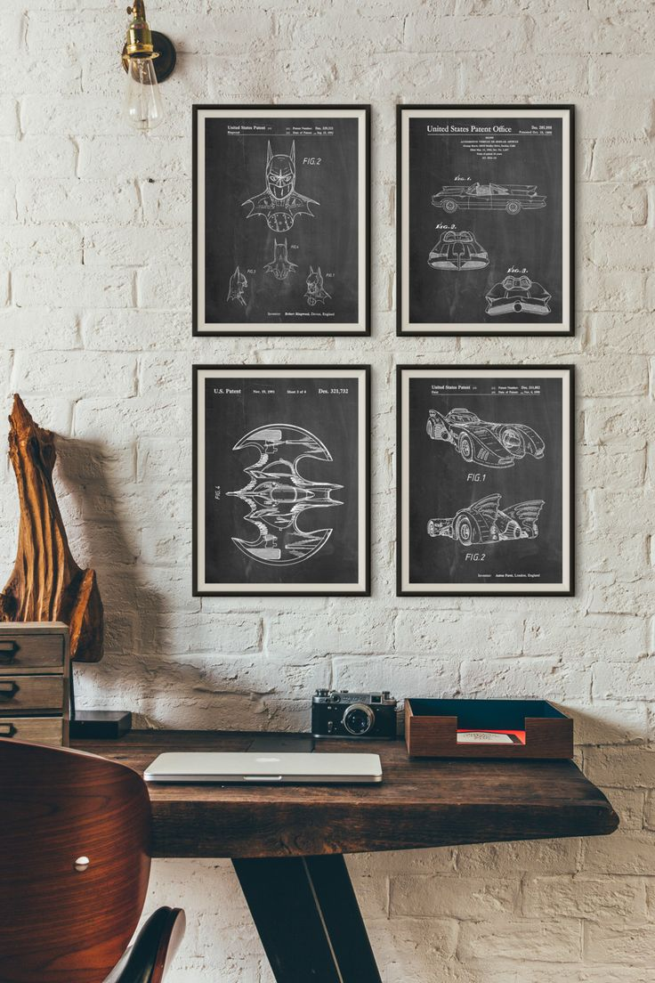 Batman Patent Posters Group of 4, Batman Cowl, Batman Gifts, Batmobile  Blueprint,