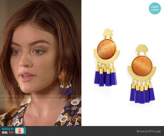 Aria's earrings on Pretty Little Liars.  Outfit Details: https://wornontv.net/58342/ #PLL  Buy them here: http://wornon.tv/36697