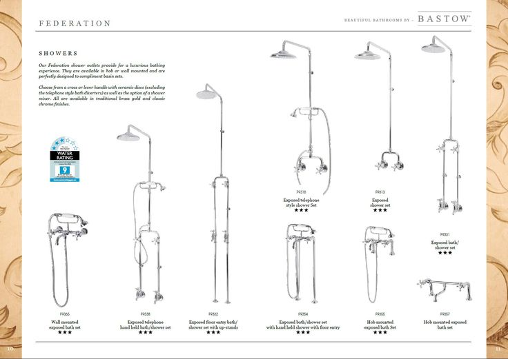 Bastow Federation Showers Bastow Federation shower outlets provide for a luxurious bathing experience. They are available in hob or wall mounted and are perfectly designed to complement basin sets. Choose from a cross or lever handle with ceramic discs (excluding the telephone style bath diverters) as well as the option of a shower mixer. All are available in traditional brass gold and classic chrome finishes from website www.bathroomsnkitchens.com.au