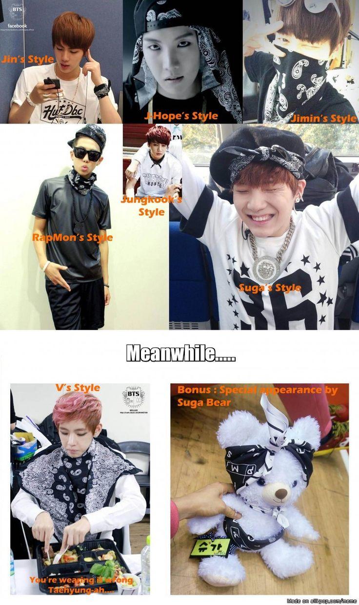 BTS' Guide on How To Wear a Bandana.............    suga bear