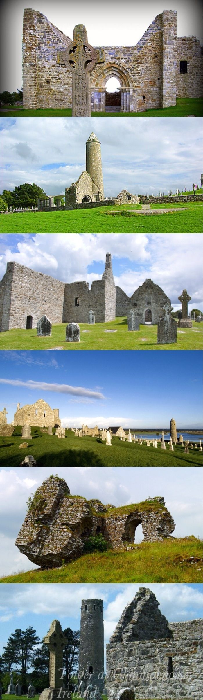 """The monastery of Clonmacnoise (Cluain Mhic Nóis in Irish, meaning """"Meadow of the Sons of Nós"""" is situated in County Offaly, Ireland on the River Shannon south of Athlone. The strategic location of the monastery helped it become a major centre of religion, learning, craftsmanship, and trade."""