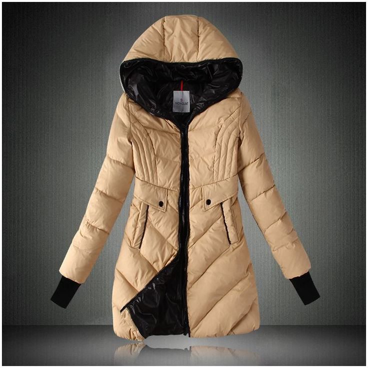 2013 Moncler Womens Hooded Long Down Coat Apricot - :