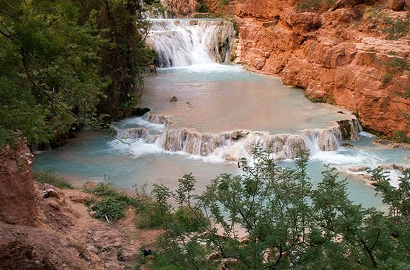 Havasu Falls in Supai, Arizona was named one of America's best swimming holes in 2012!: Havasu Falls Supai Arizona, Airstream Destinations, Waterfalls, Favorite Places, America, Swimming Holes, Arizona S Havasupai, Falls Swimming, Travels Awesome Places