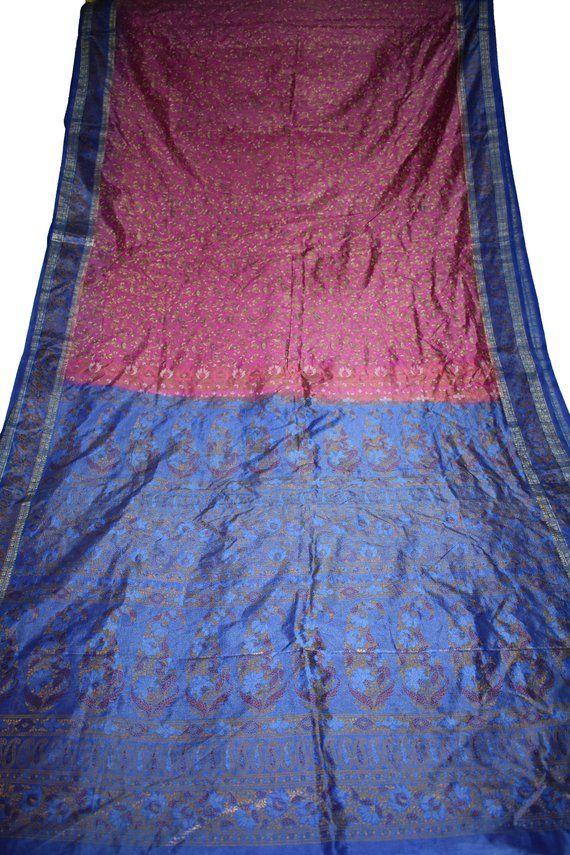 Vintage Printed Sari Pink Tussar Silk Floral Print 5Yrd Saree Design Craft Fabric