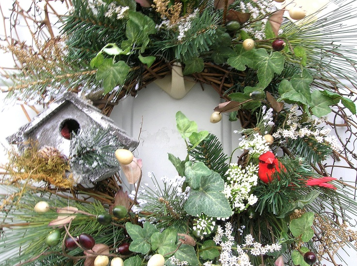 Country Winter primitive Door Wreath Floral Birdhouse Arrangement(Christmas ideas)