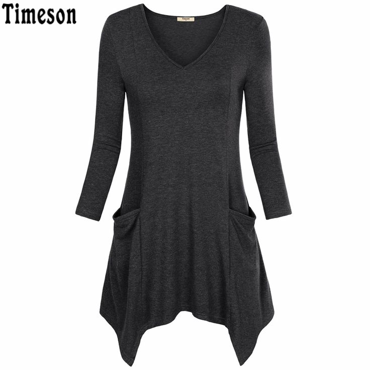 Womens V-Neck Asymmetrical Hem Long Sleeve Knitted Long Tunic Tops with Pockets Black Casual Plus Size Shirt Solid Blouse Female #shoes, #jewelry, #women, #men, #hats, #watches