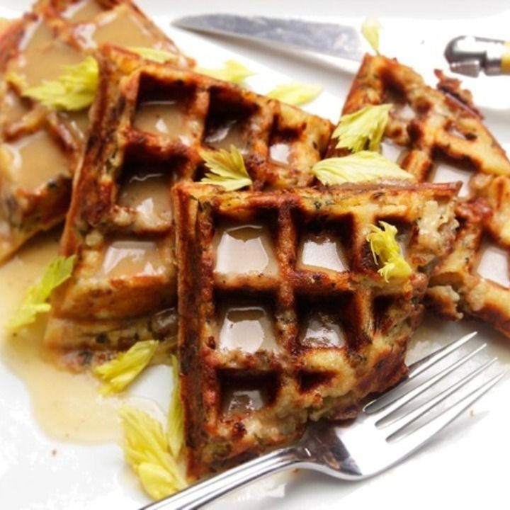 Why not fill your waffle iron with stuffing?! While the recipe suggests topping with gravy and maple syrup, I think adding a fried egg would also be perfect!