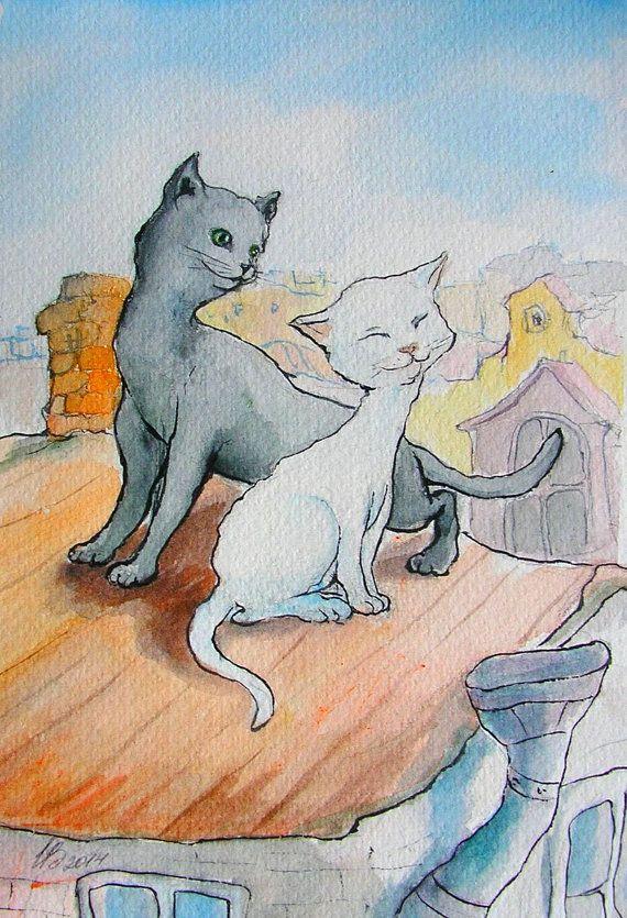 Hey, I found this really awesome Etsy listing at https://www.etsy.com/ru/listing/178700414/akvarel-vlublennye-koty-na-krye