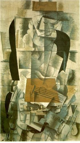 Woman With a Guitar was painted by Georges Braque. It was completed in 1913. The painting is a large oil and charcoal painting. The painting is considered to be a common abstract painting. Text was used frequently in Braque's paintings and Picasso. Sometime the texts were used to shape the meaning of the work.