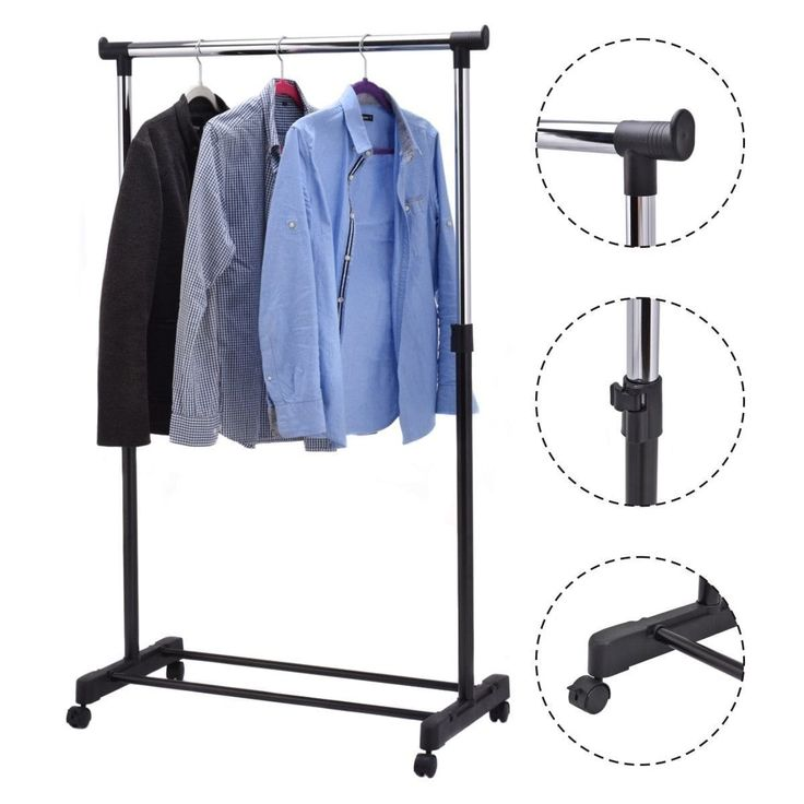costway adjustable rolling garment rack portable clothes hanger heavy duty rail rack silver steel