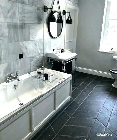 s matte black floor tile hexagon bathroom | rhombus tile