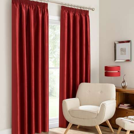 Montana Red Lined Pencil Pleat Curtains | Dunelm