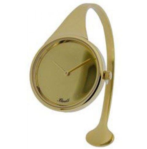 Bøjleur fra Bonett iguldtonet stål med en urskive i en elegant spejlblank guldfarve. Ø 30 mm.