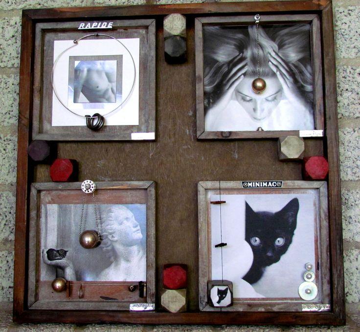 Recyclagekunstwerk met oude verjaardagskaarten