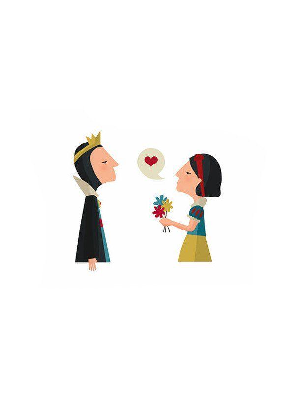 Print Blancanieves bruja madrastra Felicidades mamá de Tutticonfetti ilustración cuentos de hadas