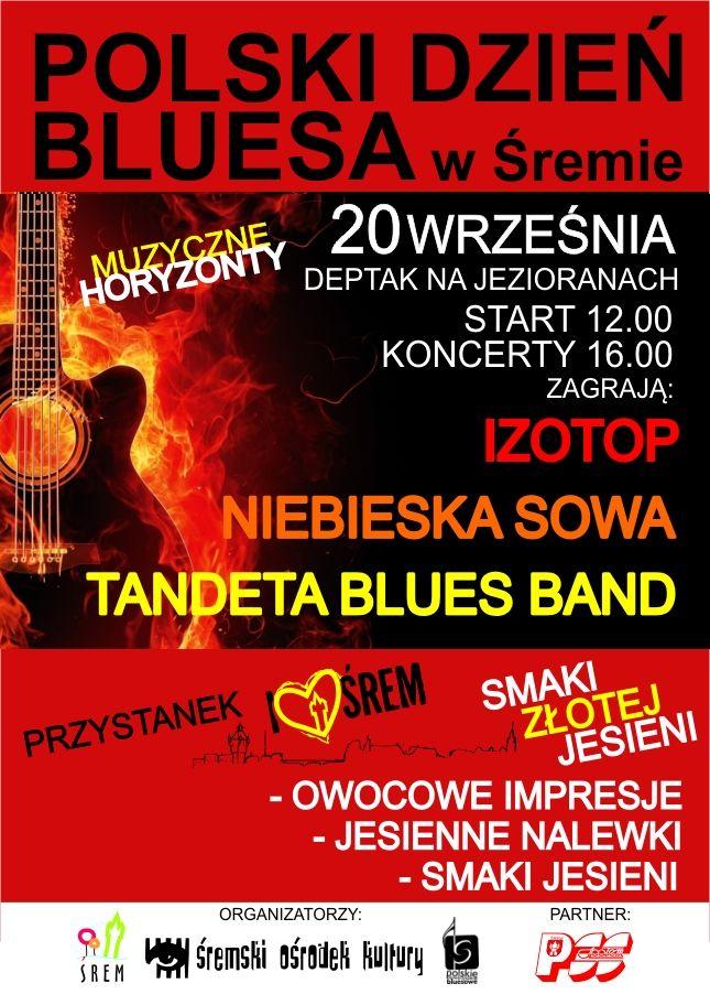 Izotop, Niebieska Sowa oraz Tandeta Blues Band zagrają na Polskim Dniu Bluesa w Śremie. Impreza odbędzie się 20 września na Deptaku na Jezioranach, Początek o godz. 12.00, koncerty rozpoczną się o godz. 16.00. Poza atrakcjami muzycznymi nie zabraknie atrakcji kulinarnych przygotowanych przez PSS Społem w Śremie. więcej na www.kulturalny.naszsrem.pl