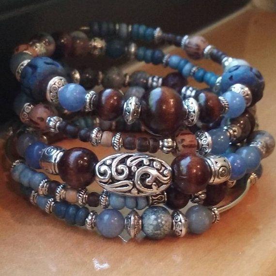 Denim Blue Beaded Bracelet, Memory Wire Bracelet, Wrap Bracelet, Bohemian Bracelet, Boho Jewelry, Southwestern Bracelet