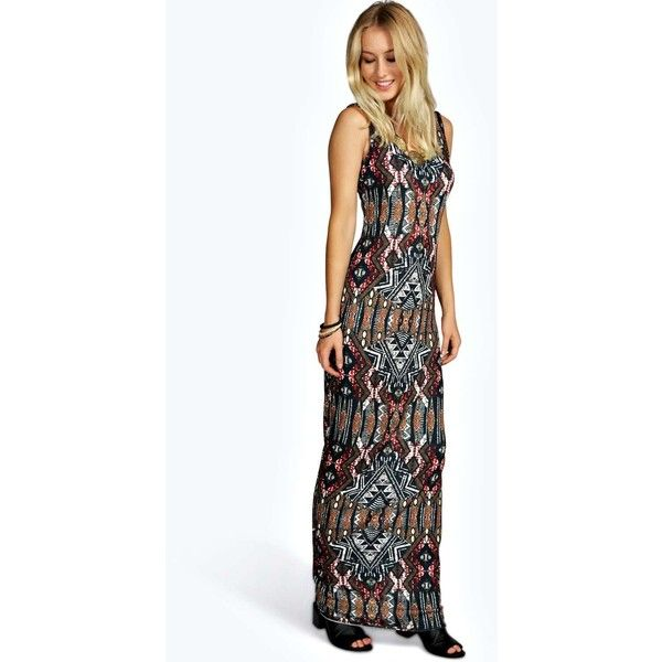 Boohoo Anna Aztec Scoop Neck Maxi Dress ($14) ❤ liked on Polyvore featuring dresses, multi, party maxi dresses, scoopneck dress, scoop neckline dress, aztec maxi dress and going out dresses