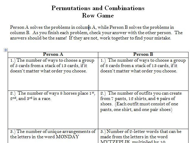 Worksheet Permutations And Combinations Worksheet 1000 images about teaching statistics and probability on permutations combinations row game