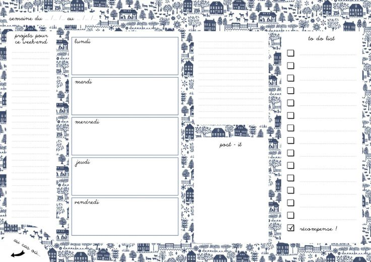 FREE printable weekly planner in french: paysage bleu
