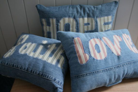 set of three denim pillows, faith/hope/love pillows   and what other words do I want on pillows?