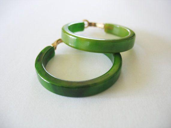 Vintage Bakelite Hoop Earrings Pierced Spinach Green Mottled Circa 1940's