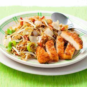 Recept - Vegetarische schnitzel met gebakken rijst - Allerhande