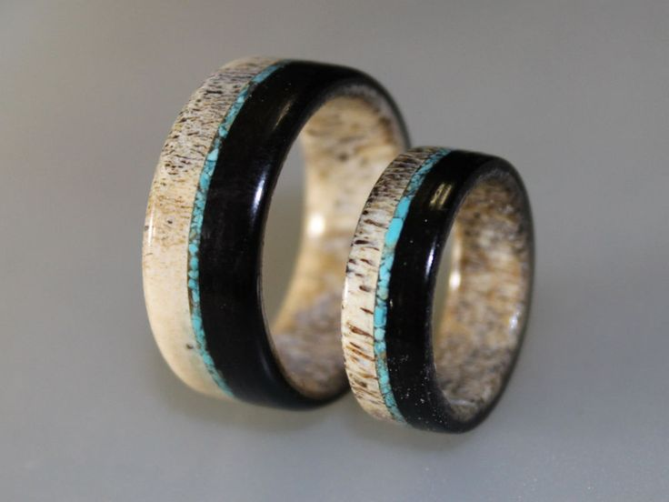 Wedding Band Set, Deer Antler Ring Set With Ebony Wood And Turquoise Bits #ringordering #Band
