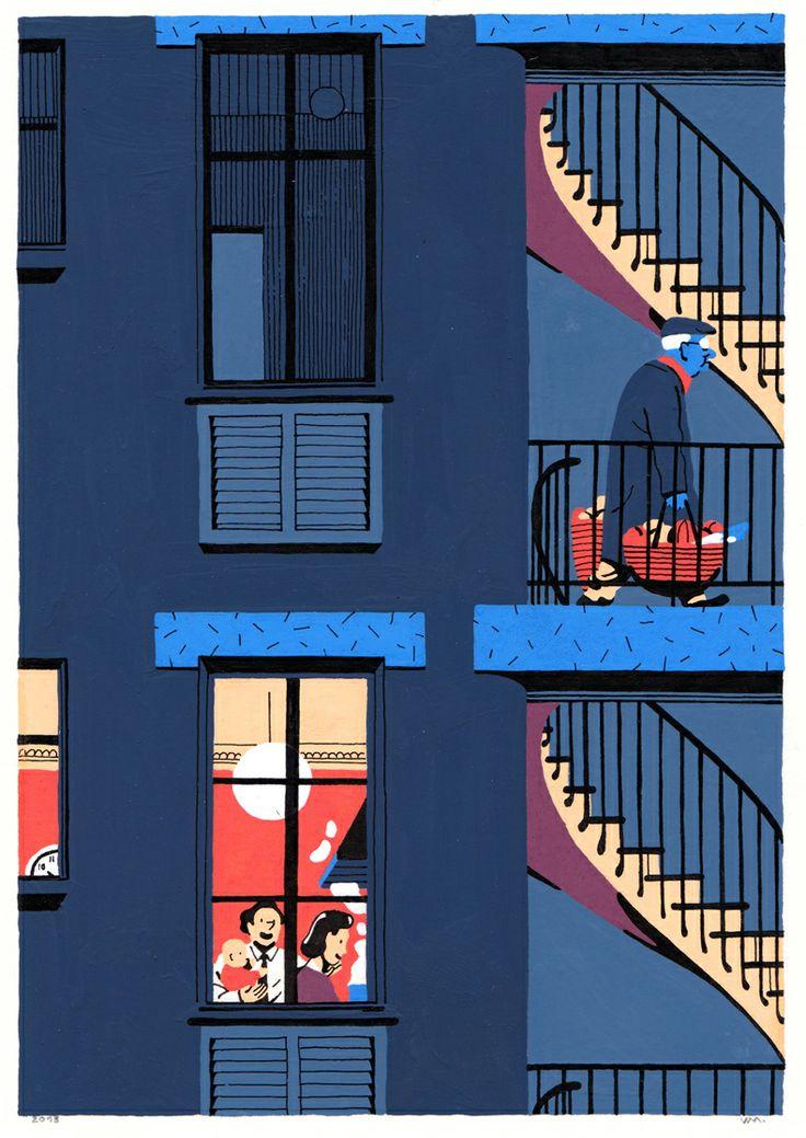 Paris, Architecture, Nuit, Voisins.