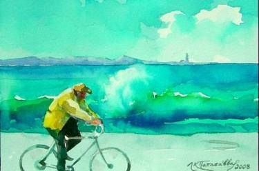 bicyclist  -  water  colours  -  a  painting  by  Leonidas  Papasavvas