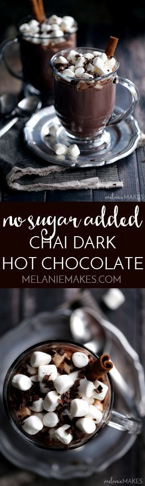 My coffee house worthy No Sugar Added Chai Dark Hot Chocolate combines dark chocolate and and the warming spices of cinnamon, ginger, cloves, cardamom and nutmeg that's sure to beat winter's chill. #SplendaSweeties #SweetSwaps