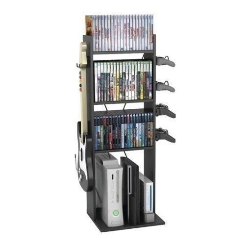 Black Video Game Console Controller Stand Storage Rack Organizer Tower XBOX PS3 #Unknown
