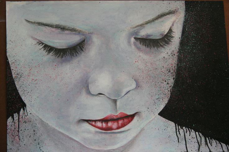 Alice. graphite and oil paint. portrait