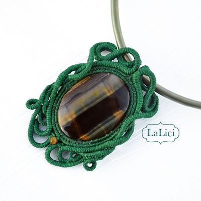 Tiger eye gemstone and green macrame, turns into bright yellow under a black light .