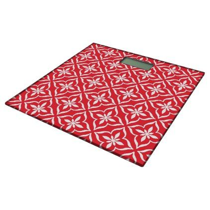 Classic Chic Coral Red Cute Retro Arabic Pattern Bathroom Scale - beauty gifts stylish beautiful cool