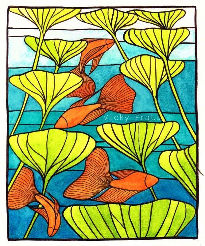 By Vicky Pratt. Watercolour pencils Siamese fighting fish or Beta fish. For Inktober 2015. www.vicpratt.wix.com/vickypratt Find me on FB and IG Vicky Pratt - Illustrator.