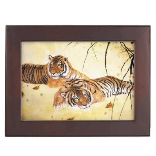 Beautiful Tigers big cat resting chinese painting Keepsake Box