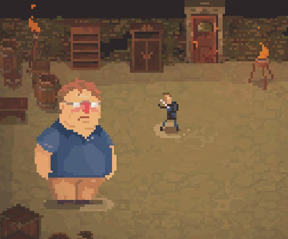 Gabe Newell is a boss in Crawl; powers up with beard and knives