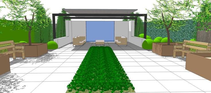 Perspectief - Moderne achtertuin - Doorkijk naar achter landschap - Tuin ontwerp www.hendrikshoveniers.nl