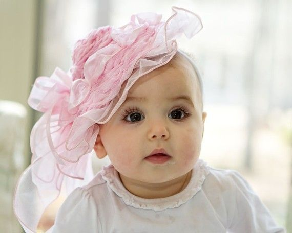 flower girl hat  pink and other colors frilly and soft  by Amarmi
