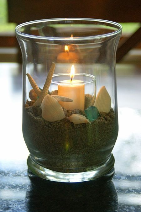 Nice, simply, and inexpensive beach theme centerpieces.  Like in my living room right now.  I used rocks for a fish tank sand on top and a candle.