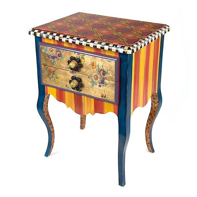 MacKenzie Childs   La Fete Side Table  Love Inside Drawers · Mackenzie  Childs InspiredPaint FurnitureDecoupage ...